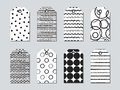 Gift tags and cards set with hand drawn elements. Collection of holiday label paper in black and white. Seasonal badge Royalty Free Stock Photo