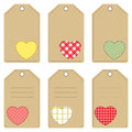 Gift tags for valentine s day set of with stitched hearts Stock Image