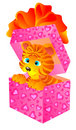 Gift a tiger in a box. Vector illustration  Stock Photography
