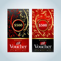 Gift Voucher, Gift certificate, Coupon template. Gold, Red and black color versions. Vector illustration. Royalty Free Stock Photo
