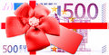 Gift vouchers red ribbon and label to banknotes Royalty Free Stock Photography