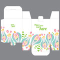 Gift wedding favor box design template with nature pattern