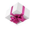Gift the white box with bow Stock Photography