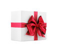 Gift the white box with bow Royalty Free Stock Photography
