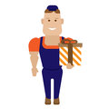 Gift worker illustration of on white background Stock Photos