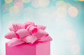 Gift wrapped present christmas with bow close up Royalty Free Stock Photo