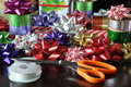 Gift wrapping materials colorful in the table Royalty Free Stock Photography
