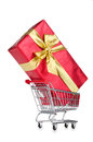 Giftbox and shopping cart Royalty Free Stock Photo