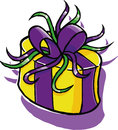 Giftbox a vector illustration of a yellow and purple Stock Photography