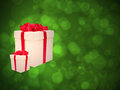 Gifts against the green bokeh. Stock Images