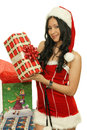 Gifts beautiful girl with christmas costume and Royalty Free Stock Photos