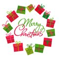 Gifts boxes round frame Merry Christmas text, Circle of colorful present boxes with red and green bow knots. Vector