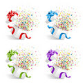Gifts with confetti Royalty Free Stock Image