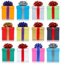 Gifts gift birthday christmas collection presents isolated on white background Royalty Free Stock Photo