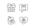Gifts line icons. Present, Speech bubble.