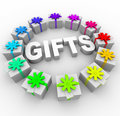 Gifts - Presents in Circle Around Word Royalty Free Stock Images