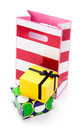 Gifts to give arrangement of gift bag and two gift boxes on white background Royalty Free Stock Image