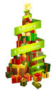 Gifts tree with Merry Christmas ribbon Royalty Free Stock Photo