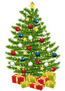 Gifts under a beautiful christmas tree. Royalty Free Stock Images