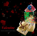 Gifts in valentine day beautiful holidays card Royalty Free Stock Photo