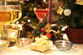 Gifts, vine and candles. Stock Photography