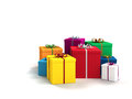 Gifts on white background a lot of bright colorful Royalty Free Stock Photography