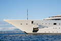 Gigantic big and large luxury mega or super motor yacht on the o blue ocean Royalty Free Stock Images