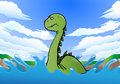 Gigantic dinosaur swimming illustration of a on nature background Royalty Free Stock Image