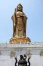 The gigantic metal statue of guanyin on putuo shan china island july july is one four holy mountains Stock Photography