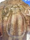 Gigantic rock cut maitreya buddha in mulbek ladakh monastery india Royalty Free Stock Photos