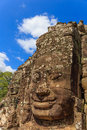 Gigantic smiling faces the on each tower of the bayon temple Royalty Free Stock Photos