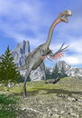 Gigantoraptor dinosaur running d render in the mountain with open mouth Stock Photo