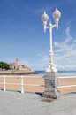 Gijon san lorenzo beach vertical looking along the towards the peninsula of santa catalina at in asturias Stock Images