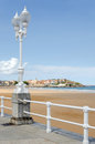 Gijon st lawrence beach looking along the san lorenzo towards the peninsula of santa catalina at in asturias Stock Image