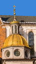 Gilded dome of the cathedral basilica of st stanislaus and wenceslas in krakow poland at the wawel hill where royal castle is Royalty Free Stock Photo