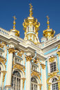 Gilded domes with crosses on the building Stock Photo