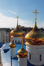 Gilded domes, Epiphany Cathedral. Kazan, Russia Royalty Free Stock Photo