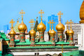 Gilded domes of the upper savior cathedral on square in moscow kremlin Royalty Free Stock Image