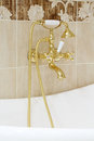 Gilded faucet with shower heads in empty bathroom and light Stock Photo