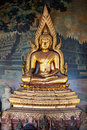 Gilded figure of buddha in the temple indonesia old Royalty Free Stock Images