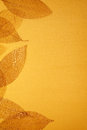 Gilded leaves over golden background Stock Photos