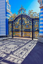 Gilded openwork gate of Catherine Palace in Tsarskoye Selo Royalty Free Stock Photo