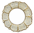 Gilded photo frame inlaid with rhinestones in form of flower Royalty Free Stock Photo