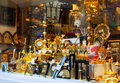 Gilded souvenirs at showcase in toledo spain august on august spain is history known as production of bladed weapons Stock Image