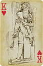 Gilgamesh playing card with the drawn figure the king of uruk description drawing consists of at least of two layers a colored Royalty Free Stock Photos