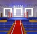 Gimnasia del boxeo con el anillo azul y las esquinas rojas Imagen de archivo