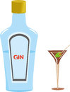 Gin bottle and martini glass dry with olive eps file for this illustration with no open paths Royalty Free Stock Images
