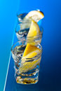 Gin with lemon on a glass table alcohol drink Royalty Free Stock Photo