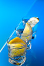 Gin with lemon on a glass table alcohol drink Royalty Free Stock Image