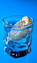 Gin with lemon on a glass table alcohol drink Stock Images